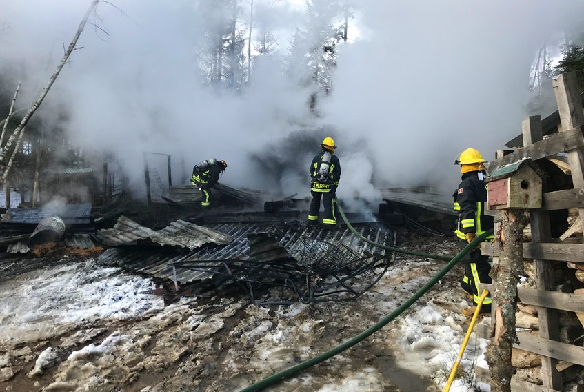 Four pigs and a duck died as a result of a fire that destroyed this barn in Bishopville Friday morning. (Hantsport Fire Department)