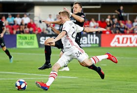 Toronto FC winger Jacob Shaffelburg, in professional Canadian soccer action.