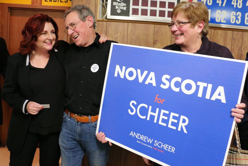 Eric and Brenda Meisner, of Somerset, meet with Martha MacQuarrie, the 2019 Conservative candidate for Kings-Hants, following a town hall meeting in Windsor featuring Opposition Leader Andrew Scheer.