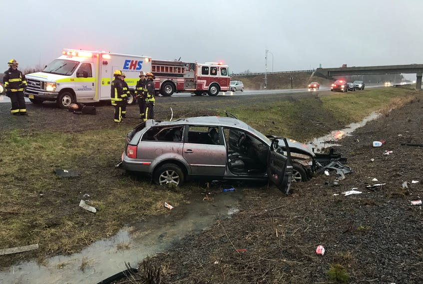 Three people were transported to hospital, one with serious injuries, following a single vehicle car accident April 27 near Exit 8A: Glooscap Landing.