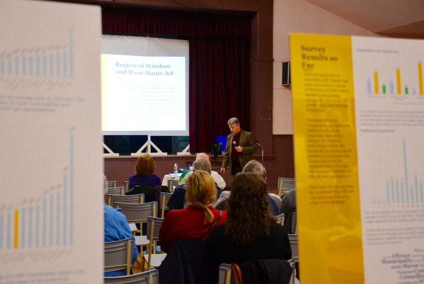 John Heseltine, with Stantec, hosted a public meeting at the Hants County War Memorial Community Centre in Windsor.