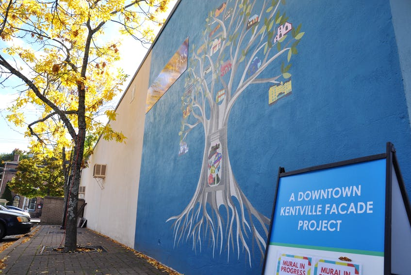 This is the new mural painted by local artist Miyoshi Kondo on the side of D.M. Reid Jewellers in downtown Kentville. The mural is the first that received partial sponsorship through the town's façade upgrade program.