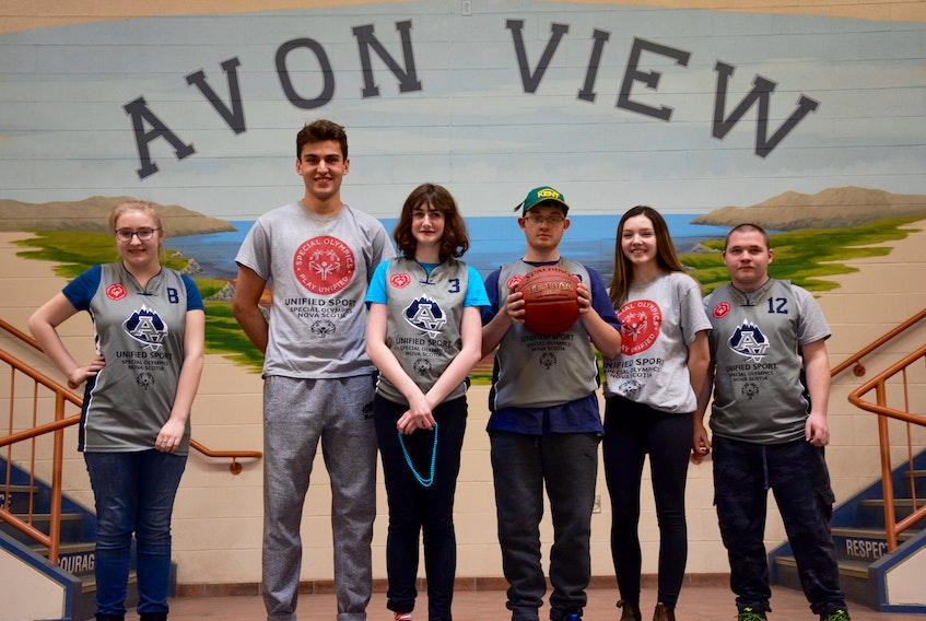 From left, Katlyn Barkhouse, 15, Nigel Fraser, 15, Samantha Galbraith, 16, Dawson Riley, 17, Madison Swinamer, 16, and Jarrett Spin, 18, are the athletes and student leaders that make up Avon View's basketball team that are heading to Toronto in May to participate in the Special Olympics Ontario Invitational Youth Games.