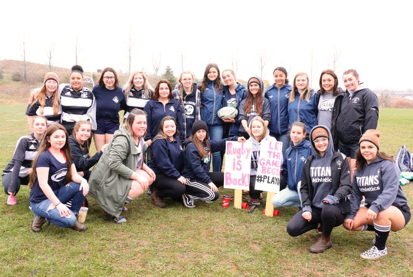 Girls representing multiple Valley rugby teams converged on Avon View May 4 to celebrate the announcement that rugby will be reinstated in Nova Scotian high schools.