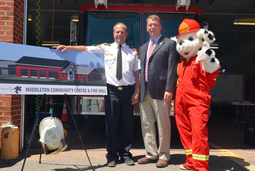 On June 15 Middleton Fire Chief Mike Toole and Deputy Mayor Gary Marshall launched a fundraising campaign to raise $1.4 million to help build a new community centre and fire hall in Middleton. Sparky the Fire Dog was on hand for the kickoff.