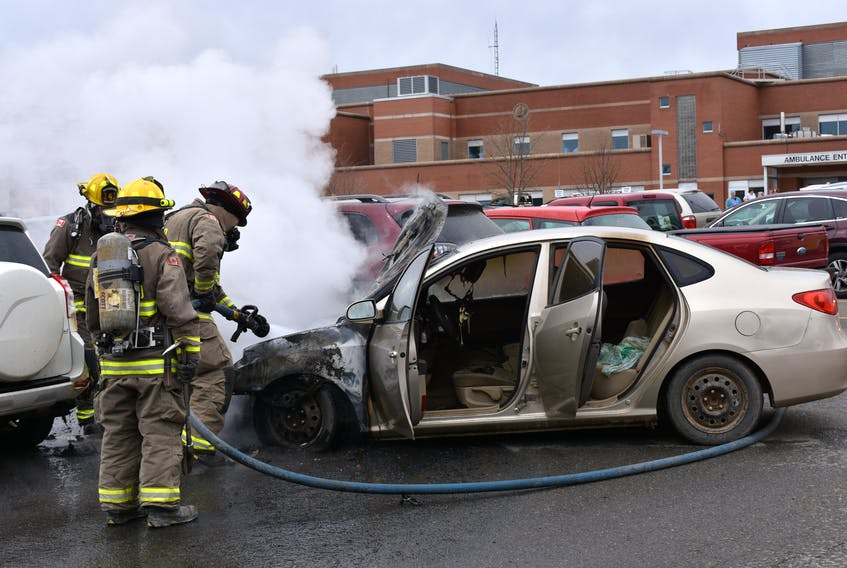 The Kentville Volunteer Fire Department made short work of a fire that broke out in this Hyundai car parked at Valley Regional Hospital in Kentville Friday.