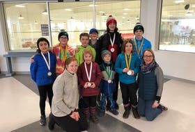 The Annapolis Valley Speedskating Club placed in the finals of the Intact Insurance Club Excellence Award and have received a prize of $2,500 that will go toward future recruitment efforts. Members include: Gabe Salley (back left), Georgia Lloyd, Benjamin Stoddard, Caelin Lloyd, Etienne Parent, Justin Noakes, coach Lauren Muzak-Ruff (front left), Ellie Taylor, Gabriel Stoddart, Ada Taylor and coach Monica Lloyd.