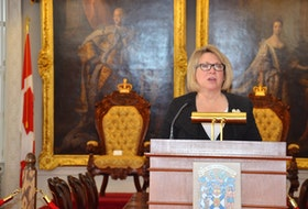 Community Services Minister Kelly Regan talks about the legislation she introduced to open adoption records in Nova Scotia at Province House on Friday, March 12.