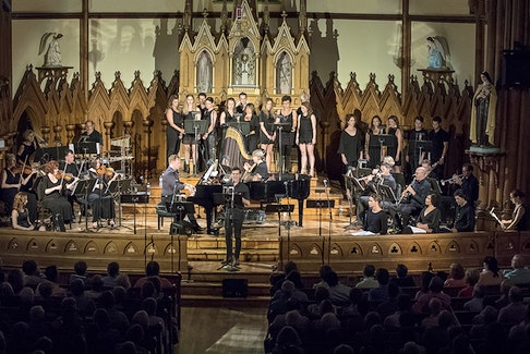 The Charlottetown Festival company performing at Historic Indian River Church on P.E.I. during the concert performance of Kronborg: 1582 (In Concert). Photo Courtesy PixbyLorne (2017)