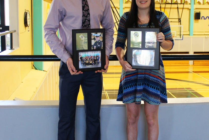 Kyle Corsten and Rachael Bekkers, both from Antigonish County, with their 2019 Dalhousie Agricultural College athlete of the year plaques. The student-athletes competed in the sport of woodsmen.