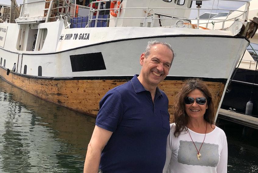 Dr. Majed Khraishi with Emilia Nacher, who piloted the boat Al-Awda, in Lisbon.