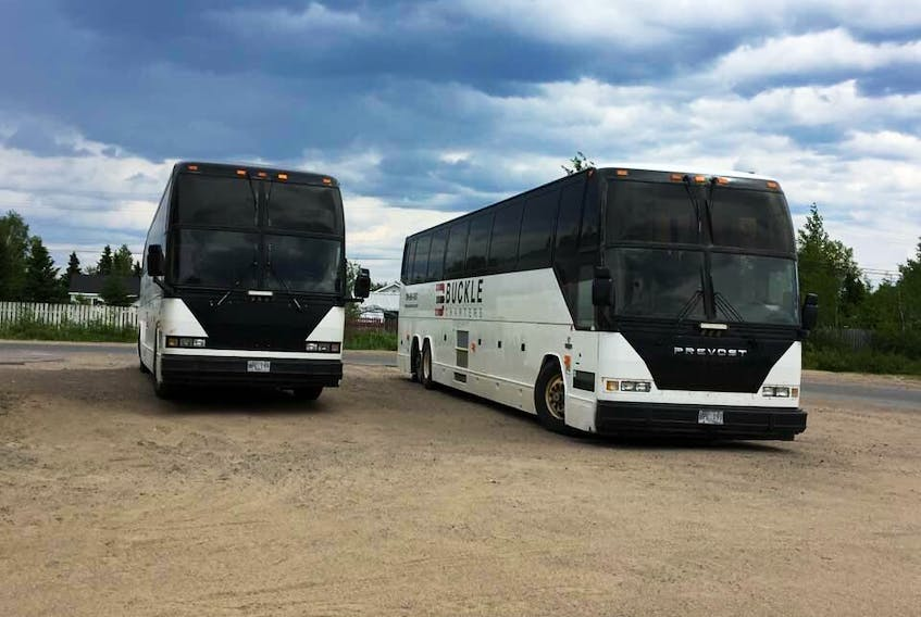These two charter buses used to transport peace officers were some of the vehicles various police forces used to bring in officers during the summer.