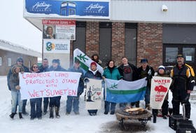 Members of the Labrador Land Protectors gathered in front of Labrador MP Yvonne Jones' office Jan. 12 in Happy Valley-Goose Bay in solidarity with the We'suwet'en First Nation in British Columbia.