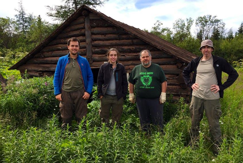 The field crew outside Schefferville. From right, Alexandre Demers-Potvin (Redpath Museum), Noemie Sheppard (RM), Mario Cournoyer (Musée de paléontologie et de l'évolution), Michel Chartier (MPE). CONTRIBUTED