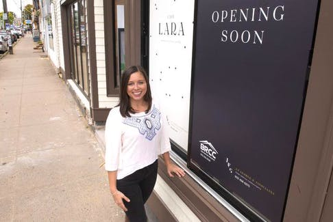 Lara Cusson, owner of Cafe Lara, poses for a photo outside her new restaurant on Agricola Street near the Halifax Common on Monday afternoon. Cusson plans to open the cafe in mid-October.