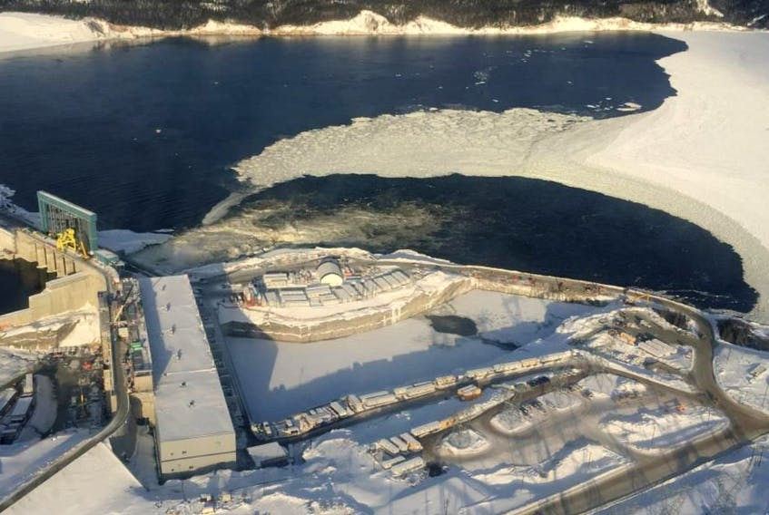 An aerial photo of the Muskrat Falls hydroelectric dam project in central Labrador (2018).