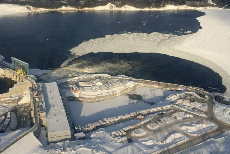 An aerial photo of the Muskrat Falls hydroelectric dam project in central Labrador (2018). - Contributed