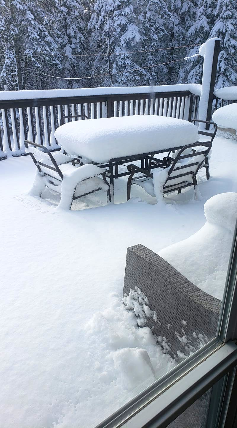 I'm willing to bet that residents of Fox Brook, N.S. had a name or two for this spring snowfall last year.  Maria Sangster was probably hoping to have her tea at the patio table – it was, after all, April 28!