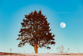 """Barry Burgess watched as the stunning """"almost"""" Full Wolf Moon rose above the horizon at 4 p.m. last January 27th.  The Moon was officially full the next day; it came up in the east as the sun lowered in the western sky."""