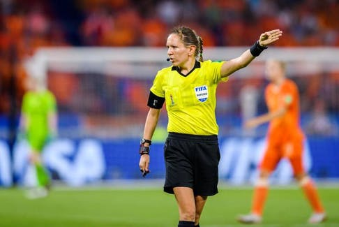 Referee Marie-Soleil Beaudoin makes a call during the FIFA Women's World Cup semifinal match between Netherlands and Sweden on July 3 in Lyon, France. - Petter Arvidson