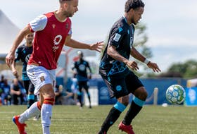 HFX Wanderers attacking midfielder Alex Marshall controls the ball during a match at the 2020 Island Games season tournament in Charlottetown. - Dylan Lawrence / HFX Wanderers