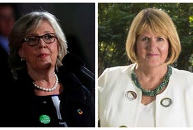 Green Leader Elizabeth May, left, stepped down Monday and named Halifax candidate and deputy leader Joanne Roberts as interim leader. - Reuters (May)/Ryan Taplin (Roberts)