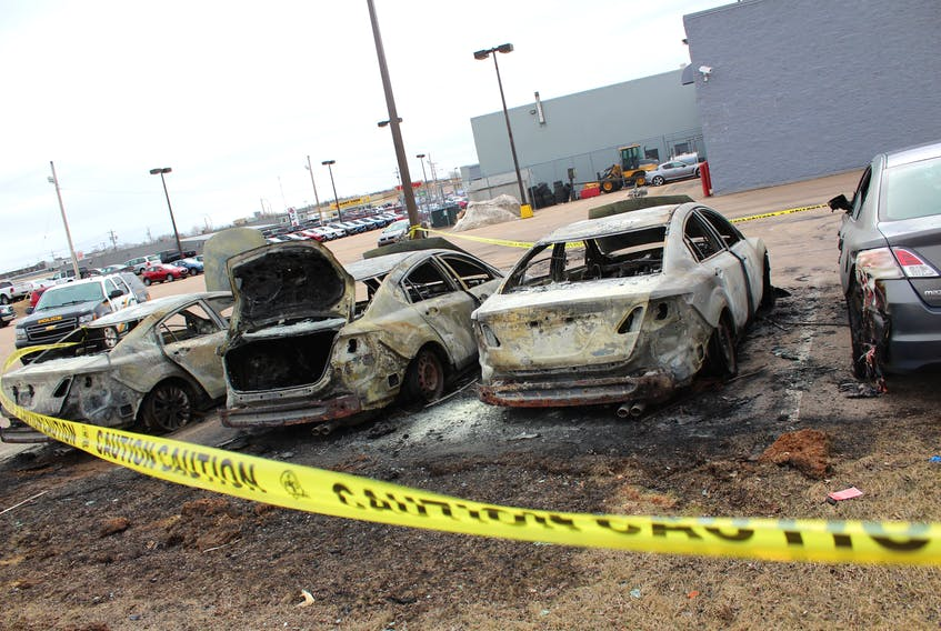 Cape Breton Regional Police are investigating after four vehicles were damaged by fire early Saturday morning at Sydney Mazda on Welton Street.