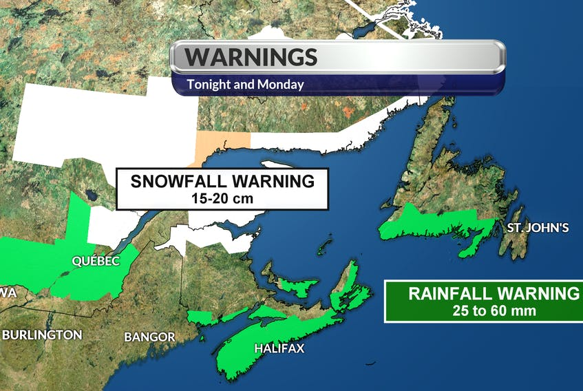 Rainfall warnings for Queens and Kings counties in P.E.I.