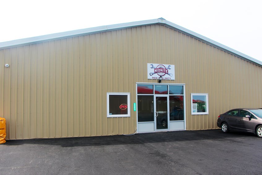 The exterior of Midnite Automotive location at 3998 South River Road in Antigonish.
