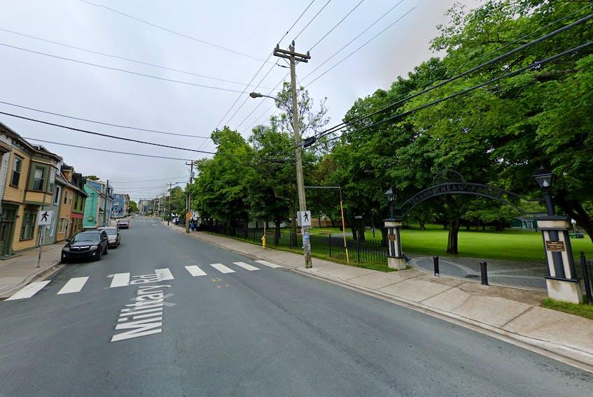 Military Road crosswalk at Bannerman Park.