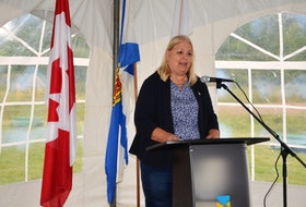 Margaret Miller, the Liberal MLA for East Hants, speaks Friday, Sept. 18, at the announcement of a $4.8-million waste water treatment plant to serve the residents of Shubenacadie.