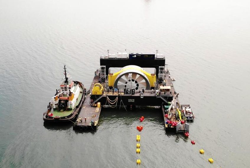 Crews from Cape Sharp Tidal moved a turbine in the Minas Passage near Parrsboro. OpenHydro, the company that owns the turbine, filed for bankruptcy shortly after the turbine was deployed. The barge Scotia Tide was arrested at the request of service providers who went unpaid for the turbine installation.