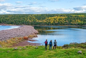 Hikers on the Freshwater Bay conservation project. CONTRIBUTED PHOTO BY DENNIS MINTY