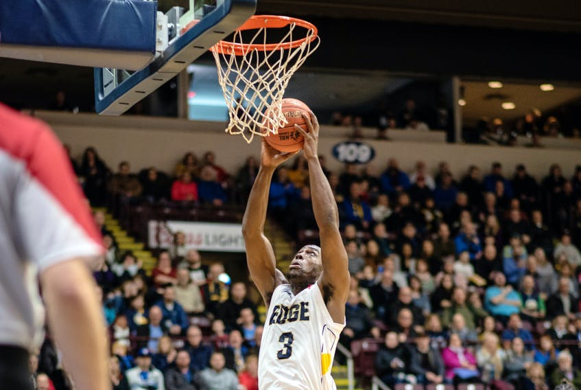Montay Brandon had 20 and grabbed 17 of his team's 69 rebounds in helping the St. John's Edge defeat the KW Titans Thursday night. — Ryan MacLellan/St. John's Edge