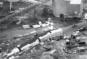 The Westray coal mine just hours after the explosion. THE CHRONICLE HERALD