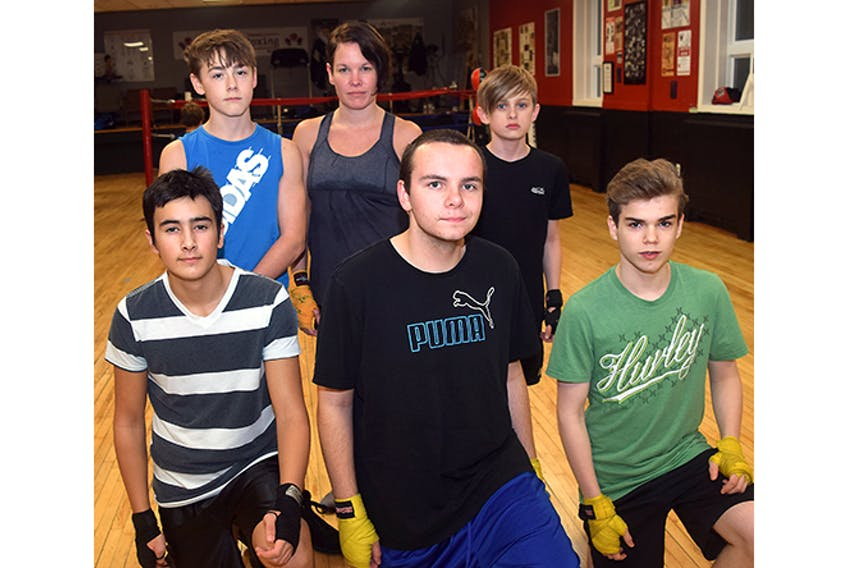 Shown are some of the boxers scheduled to compete at a Nov. 18 card in New Glasgow. In front from left are: Ethan Pratt, Jonathan Hay and Ryan Perry. In back are Tivor Stewart, Shauna Fukes and Carson Scholes.