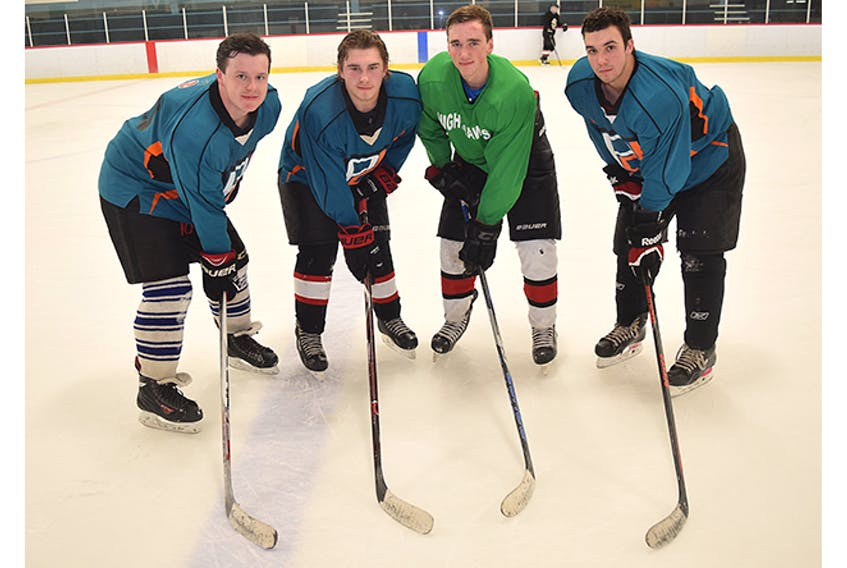 The NRHS Nighthawks are hosting their annual Danny Dorrington Memorial Hockey Tournament this weekend. From left are assistant captains Tyler Lewis and Kade Mason, co-captain Mike MacGillivray and assistant captain Liam Fraser. Missing from photo is co-captain Parker Hickey.