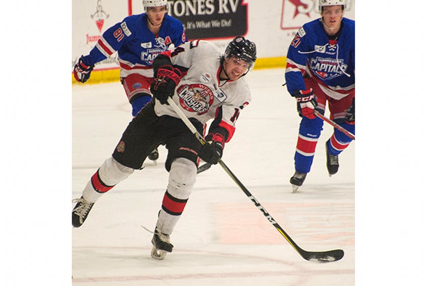 Crushers' defenceman Alex Saunders shown in a Nov. 9 game.