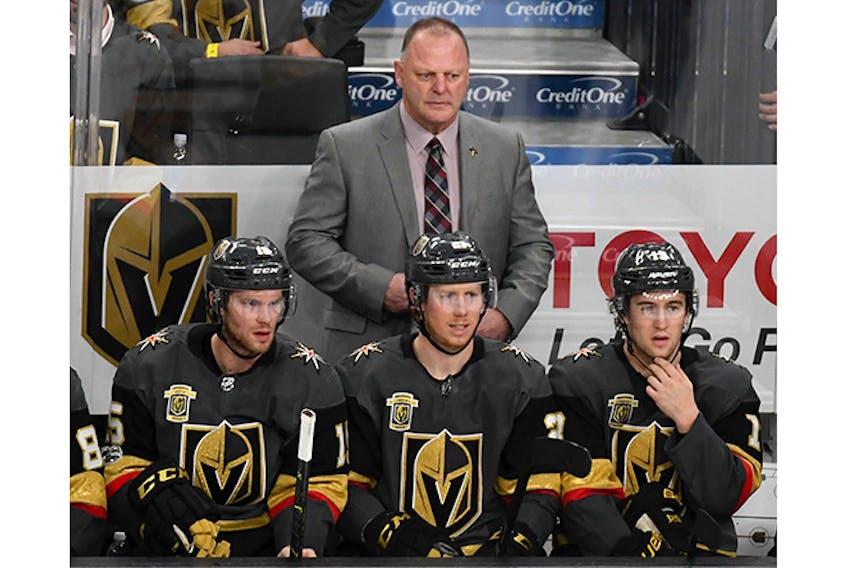 Gerard Gallant behind the Vegas Golden Knights' bench.