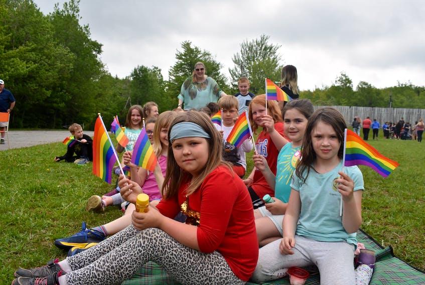 Students at Trenton Elementary School attending Monday's Pride flag raising in Trenton Park.