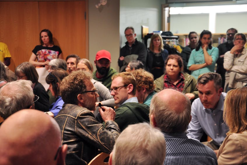 Close to 100 people had come to take part in the town-hall style meeting at the People's Place Public Library to discuss a Green New Deal for Canada.