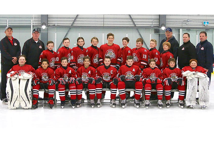 In front are: Jeffrey Quinn, Kaden Smith, Cory MacGillivray, Reese Smith, Ben Wallace, Lane Lochead, Cade Moser, Dominic MacKenzie and Evan Ramsey. In second row are: Keagan Dalton, Eastyn Cameron, Brendan Avery, Logan Crosby, Jayden Duplessis, Jax Graham, Seth Gallant, Ben Manos and Cameron Boulter. In nbac row are: coaching staff members Ross MacKenzie, Jeff Green, Rick Cameron, Troy MacDonald and Mike Lochead.