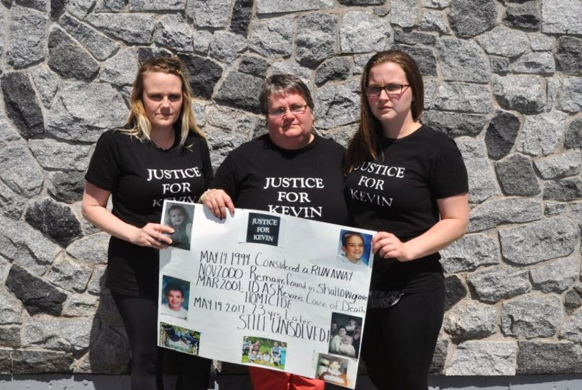 Bonnie Thomas (centre) came to Stellarton Friday to remember her son, Kevin Martin, who went missing on May 19, 1994. With her are her daughters Danielle (left) and Samantha.
