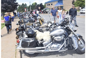The motorcycles lined Caladh Avenue in Pictou on Sunday during the Pictou Motorcycle Show. The event was postponed from Saturday due to the heavy rainfall that hit the area.