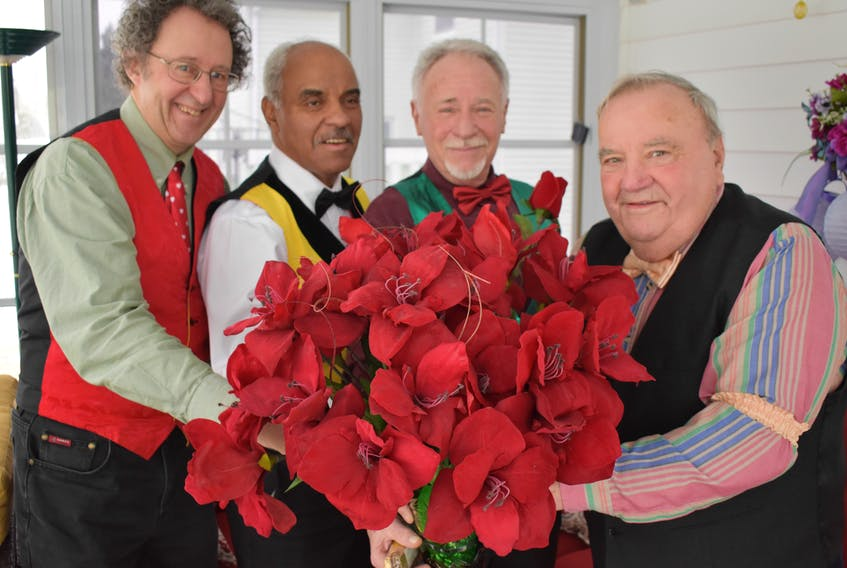 People looking for a little someone special for their loved ones on Valentine's Day can purchase a singing valentine.  From  left: Peter Townsend, Brian Bowden, Art Bingham and Bob Morse, are preparing to visit Pictou County residents on Feb. 14 as a way to send a message of love and affection as well as raising money for local charities.