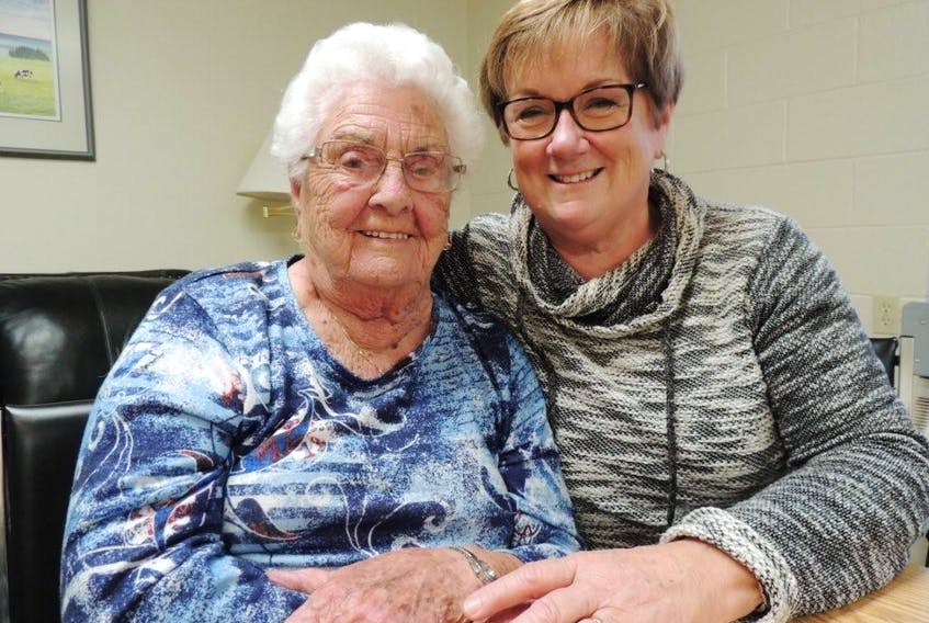 Centenarian Emily Donnelly shares a few laughs with niece Wendy Ross and gets all the information on a new great-grand nephew. When she is not being visited by various generations of the Williams family, she enjoys a good game of cribbage, going out to dinner or a drive down to the shore.