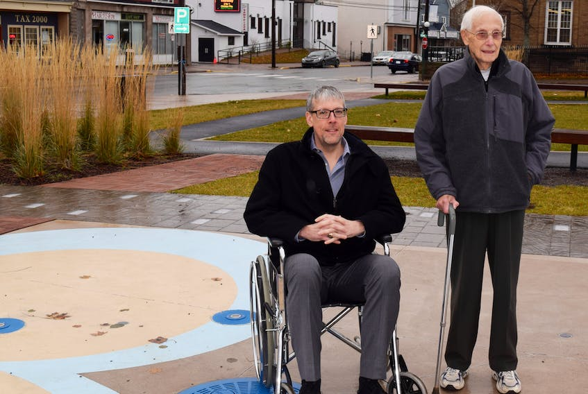 Stellarton Mayor Danny MacGillivray looked at some areas around the downtown with local resident George Rae, who at 93 enjoys walking the area.  To get the experience of what it's like being disabled, MacGillivray sat in a wheelchair.