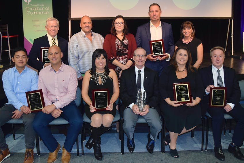 The Pictou County Chamber of Commerce held its annual awards gala on Oct. 11 at the deCoste Performing Arts Centre. In front from left are: Subway employee Edwin Pandi, Greg Burrows of Subway (Diversity in Business award), Nancy Walsh of Stark International (Large Business award), Jim Shaw of Tim Hortons (Lifetime Achievement award), Carla MacKay of Travel Our Way (Women in Business award), Jim Cooke of Sobeys, Inc. (Leadership in Business award). Back row: John Tully (Michelin Development Fund), Desarai Mosher of Stark International, Troy Greencorn of deCoste Performing Arts Centre (Community Partners award) and Terri Arbuckle of Travel Our Way.