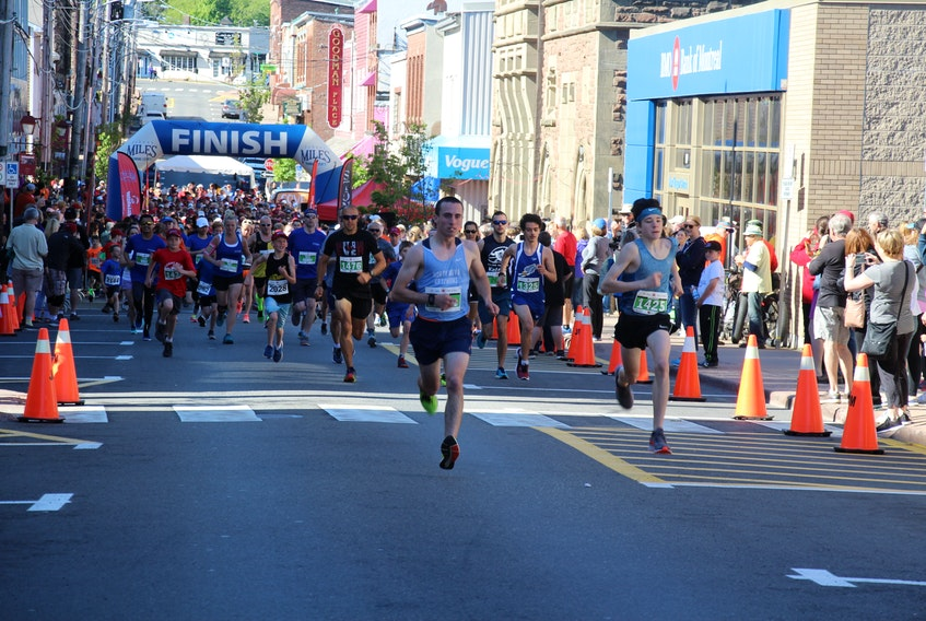 A number of runners participating in the 5K race on Sunday.