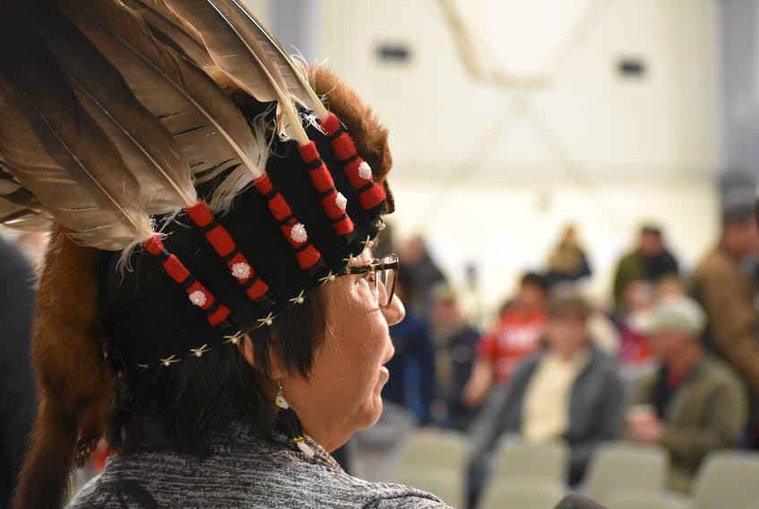 Pictou Landing First Nation chief Andrea Paul speaking to media at Boat Harbour countdown event on Jan. 31, 2019.